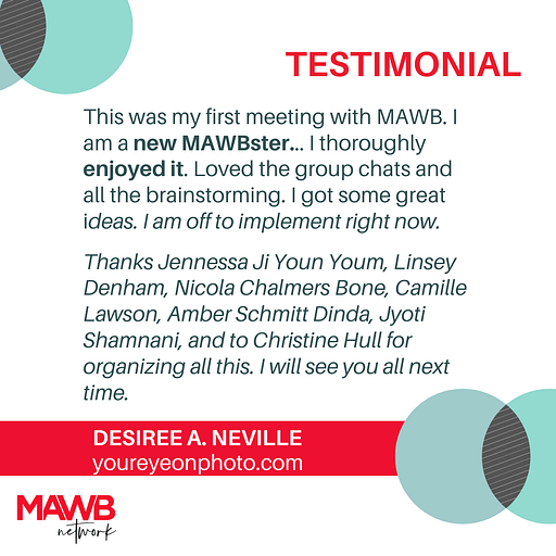 Testimonial from Desiree about August Online Meet Up