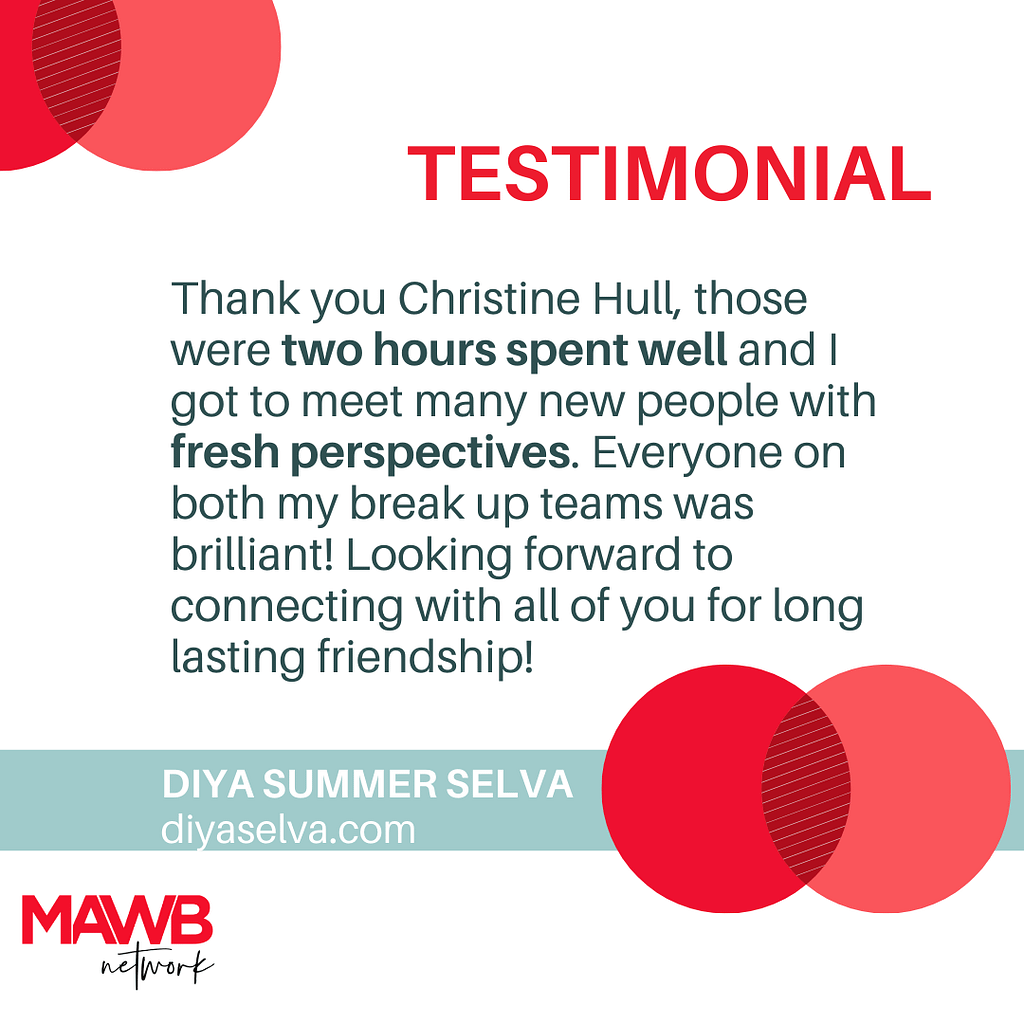 TESTIMONIAL - MAWB MEET UP - 2 HOURS WELL SPENT